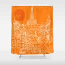 Paris! Orange Sun Shower Curtain