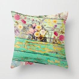 Villa Rosa Shabby Roses and Wood Throw Pillow