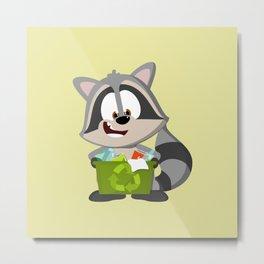 Recycle Raccoon Metal Print