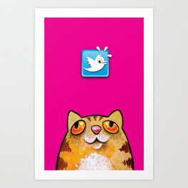 Cat love twitter bir fucsia Art Print