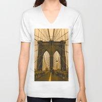 brooklyn bridge V-neck T-shirts featuring Brooklyn Bridge by Félix Pagaimo