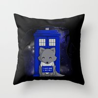 bad wolf Throw Pillows featuring Bad Wolf by Perdita