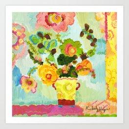 Aqua Butter Flowers Art Print