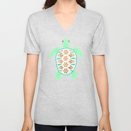 Sea turtle green pink and metallic accents Unisex V-Neck