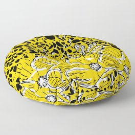 Yellow Black White Floral Abstract  Floor Pillow