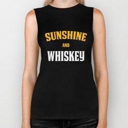 Funny Whiskey Lover Design Sunshine and Whiskey Biker Tank