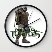 ninja turtle Wall Clocks featuring ninja,turtle by ira gora