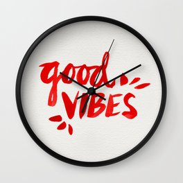 Good Vibes – Red Ink Wall Clock