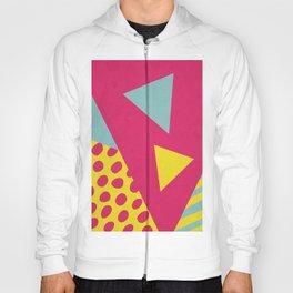 Pink Turquoise Geometric Pattern in Pop Art, Retro, 80s Style Hoody