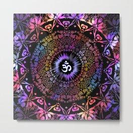 Dark Radiant Om Mandala Metal Print