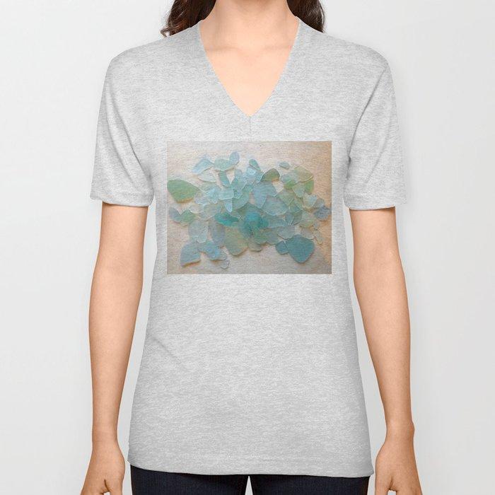 Ocean Hue Sea Glass Unisex V-Neck
