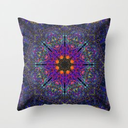 Mandala Glitch Stained Glass Throw Pillow