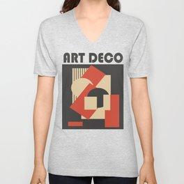 Geometrical abstract art deco mash-up Unisex V-Neck