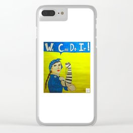 Jewish Rosie the Riveter Clear iPhone Case