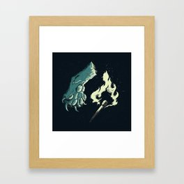 cat paw playing with fire Framed Art Print