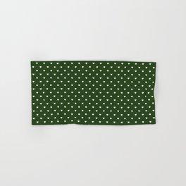 Small White Polka Dot Hearts on Dark Forest Green Hand & Bath Towel