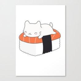 Kawaii Cute Sushi Cat Canvas Print