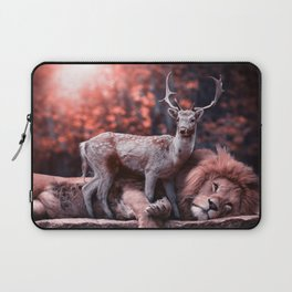 Unlikely Friends, Deer and Lion Laptop Sleeve