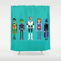 superheroes Shower Curtains featuring Teenage Superheroes by LOVEMI DESIGN