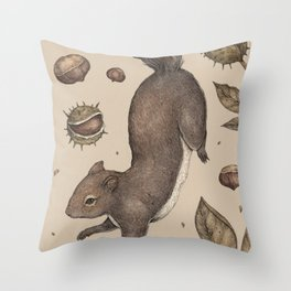 The Squirrel and Chestnuts Throw Pillow