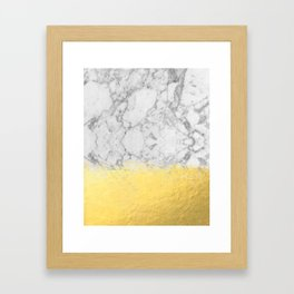Marble with Brushed Gold - Gold foil, gold, marble, black and white, trendy, luxe, gold phone Framed Art Print