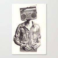radio Canvas Prints featuring Radio-Head by KatePowellArt