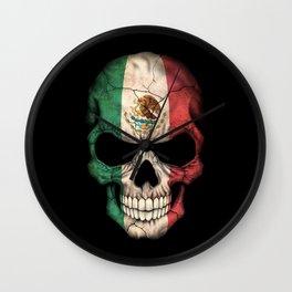 Dark Skull with Flag of Mexico Wall Clock