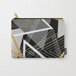 Original Gray and Gold Abstract Geometric Carry-All Pouch