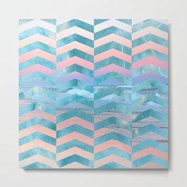 Seafoam Sunset -Wide Chevrons Metal Print