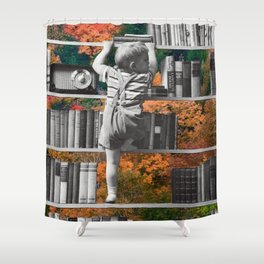 Learn, collage art by LocalHotelParking Shower Curtain