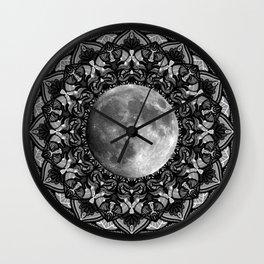 SILVER MOON MANDALA Wall Clock