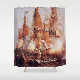 Naval battle between the Confiance and HMS Kent Shower Curtain