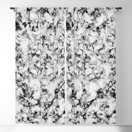 Black and White Veined Faux Marble Repeat Blackout Curtain