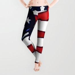 Flag - US Flag - American Flag Blowing in the Wind Leggings