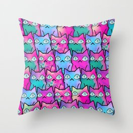 cat in owl wide version 595 Throw Pillow
