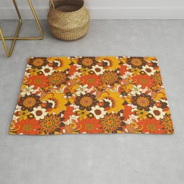 Retro 70s Flower Power, Floral, Orange Brown Yellow Psychedelic Pattern Rug