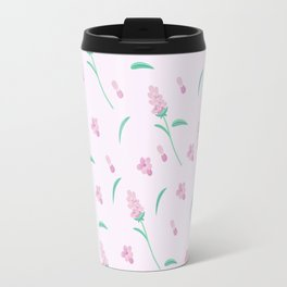Modern blush pink coral green abstract floral illustration Travel Mug