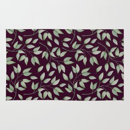 Watercolour leaves pattern on a Burgundy textured background Rug