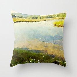 Salt Grass Marsh Throw Pillow
