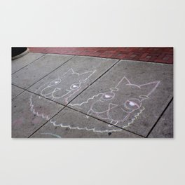Sidewalk Llamas Canvas Print