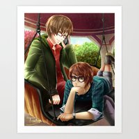 hetalia Art Prints featuring Hetalia spamano by Sly Blue