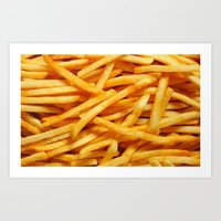 fries Art Prints featuring fries. by Modern Wolf