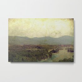 Vintage river landscape and mountain Metal Print
