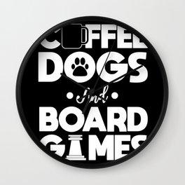 Board Games Addict Coffee Dog Lover Gift Wall Clock