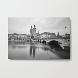 The Grossmünster Church and its reflections on the waters of Limit river in downtown Zurich, Switzerland Metal Print