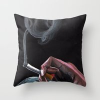 smoking Throw Pillows featuring Smoking by Tina Mooney