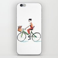 cycling iPhone & iPod Skins featuring Cycling by Kate Alizadeh