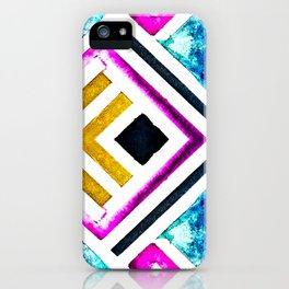 Pink, Gold and Blue Modern Chevron Design iPhone Case