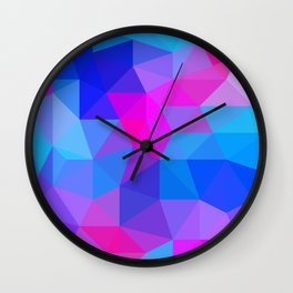 Magenta Blacklight Low Poly Wall Clock