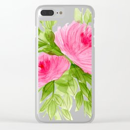 Pink Peonies in Watercolor Clear iPhone Case